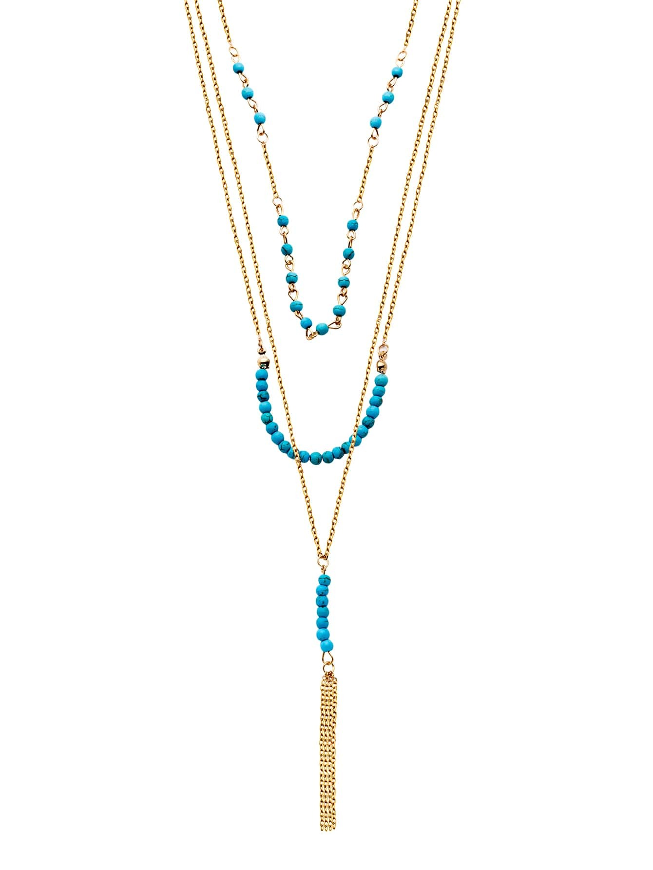 Gold Plated Turquoise Layered Beaded Tassel NecklaceGold Plated Turquoise Layered Beaded Tassel Necklace<br><br>color: Gold<br>size: None