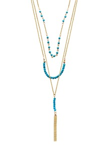 Gold Plated Turquoise Layered Beaded Tassel Necklace