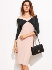 Robe couleur bloc dos avec zip