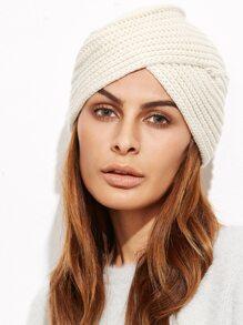 Bonnet turban tricoté à nervures - beige