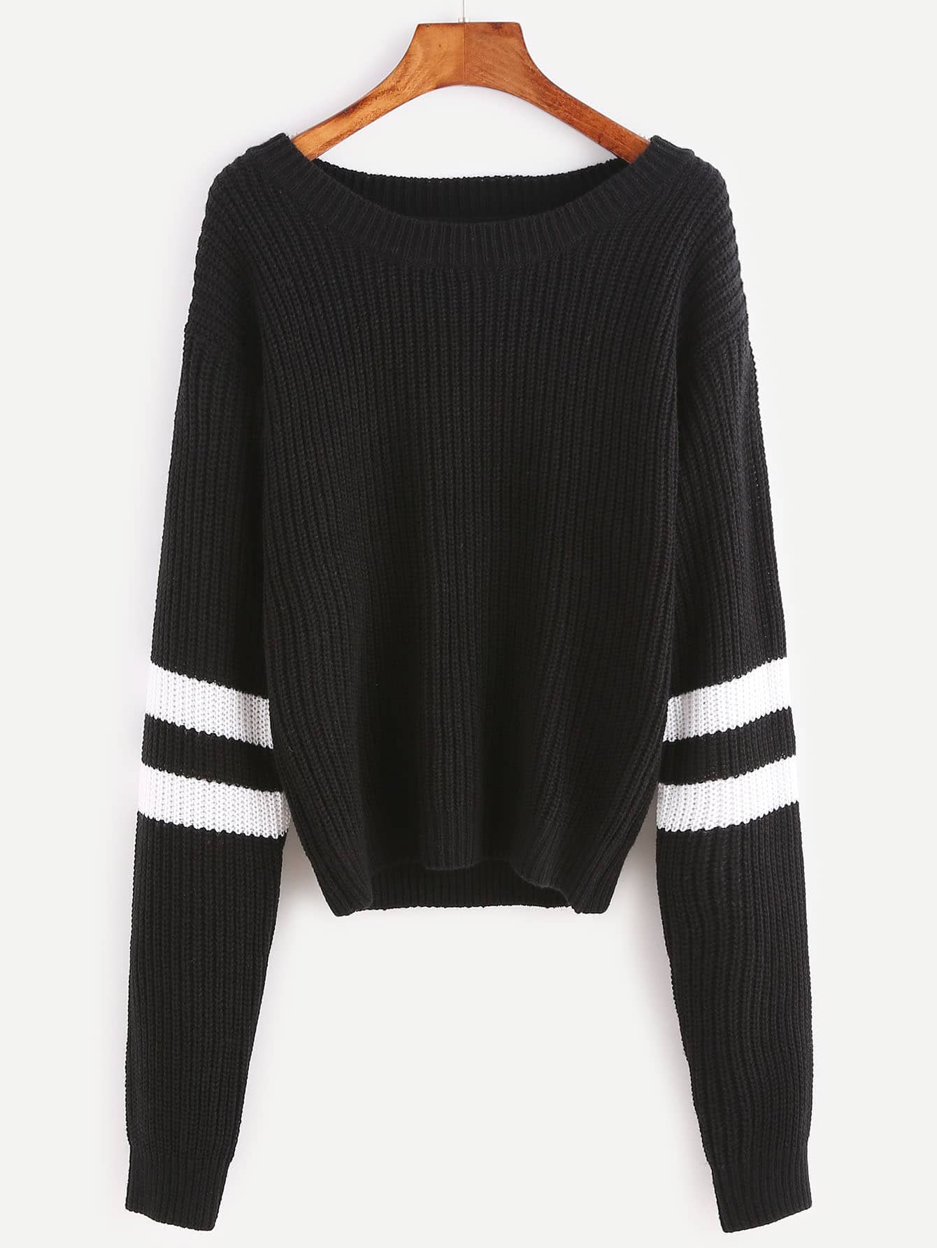 Black Ribbed Knit Striped Sleeve Sweater sweater161020454