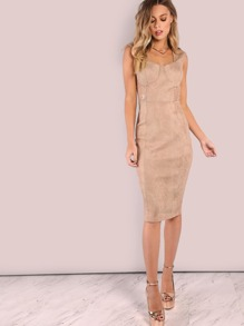 Faux Suede Queen Applique Lace Midi Bodycon Dress TAUPE