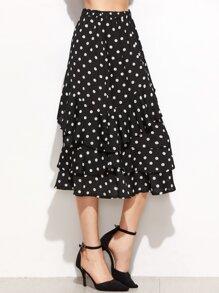 Black Polka Dot Print Layered Ruffle Skirt