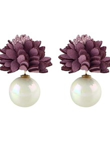 Purple New Imitation Pearl Flower Stud Earrings