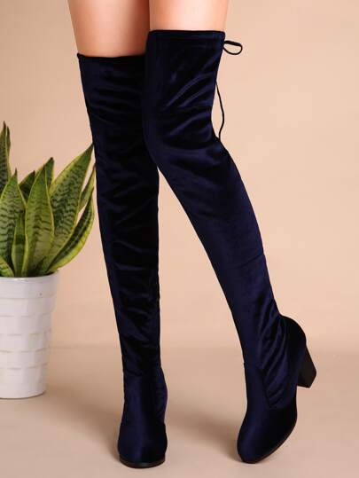 Navy Velvet Tie Back Thigh High Chunky Boots