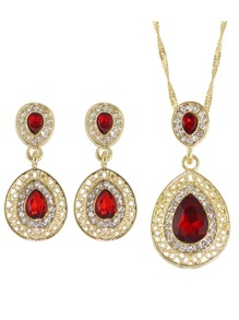 Red Elegant Rhinestone Necklace Earrings Wedding Jewelry Set