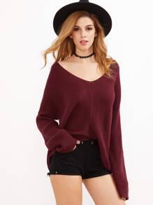 Burgundy V Neck Chevron Knit Dolman Sleeve Sweater