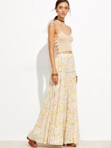 Apricot Floral Boho Maxi Swing Skirt