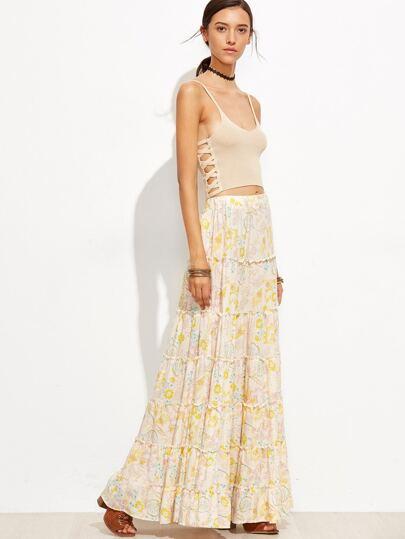 Falda bohemio floral estilo swing maxi - albaricoque
