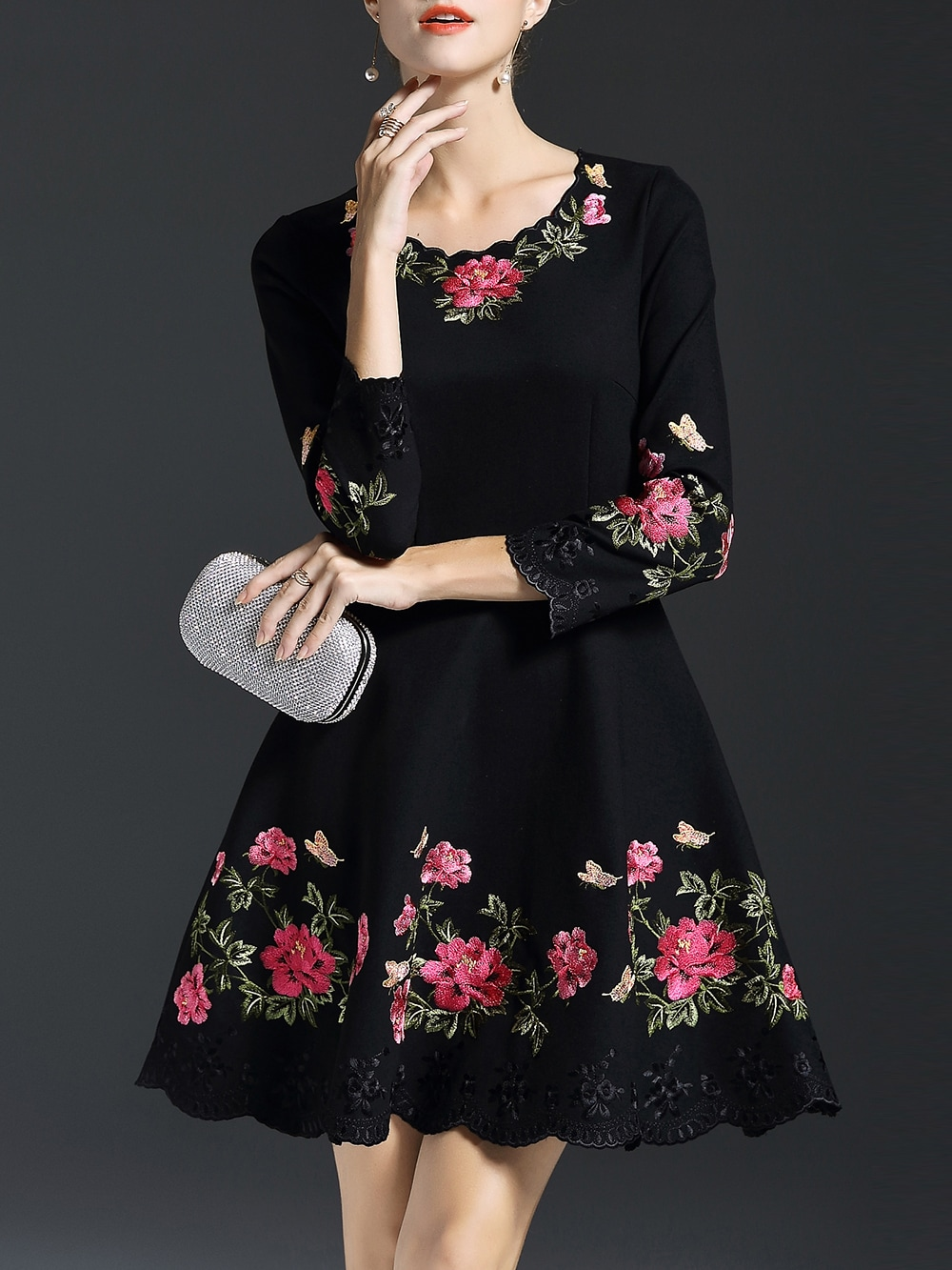 black flowers embroidered a line dress shein sheinside. Black Bedroom Furniture Sets. Home Design Ideas