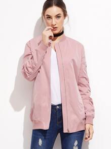 Pink Zipper Pocket Bomber Jacket