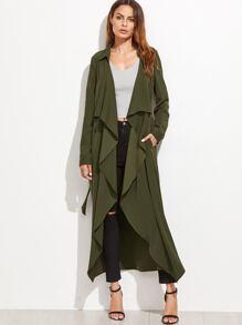 Army Green Waterfall Collar Self Tie Long Coat