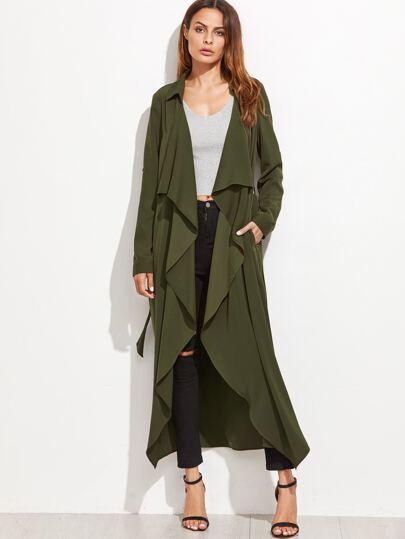 Cappotto Lungo Collare Cascante Con Nodo - Verde Militare