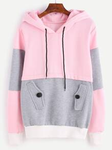 Space Dye Panel Hoodie With Pocket