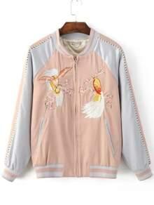 Pink Bird Embroidery Raglan Sleeve Zipper Jacket