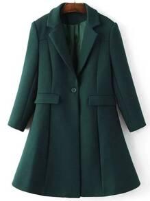 Dark Green Lapel Single Button Longline Coat