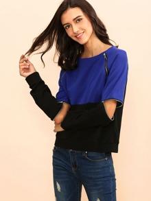 Contrast Zip Detail Detachable Sleeve Sweatshirt