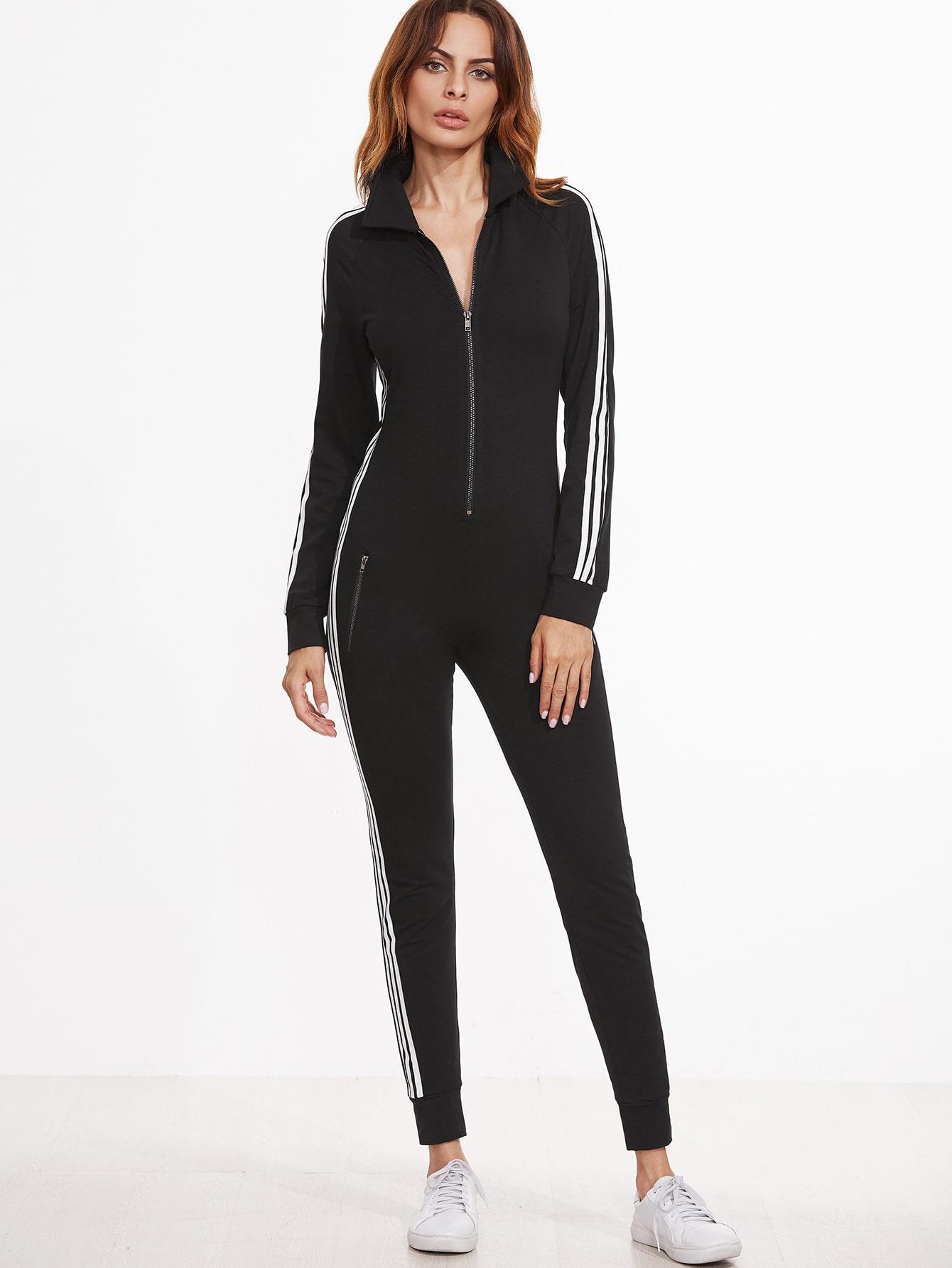 Black Striped Sideseam Zip Up Skinny Sweat JumpsuitBlack Striped Sideseam Zip Up Skinny Sweat Jumpsuit<br><br>color: Black<br>size: L,M,S,XS