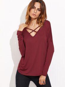Burgundy Crisscross V Neck Curved Hem T-shirt