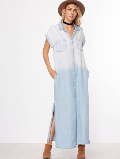 Blue Cap Sleeve Button Pocket Denim Dress