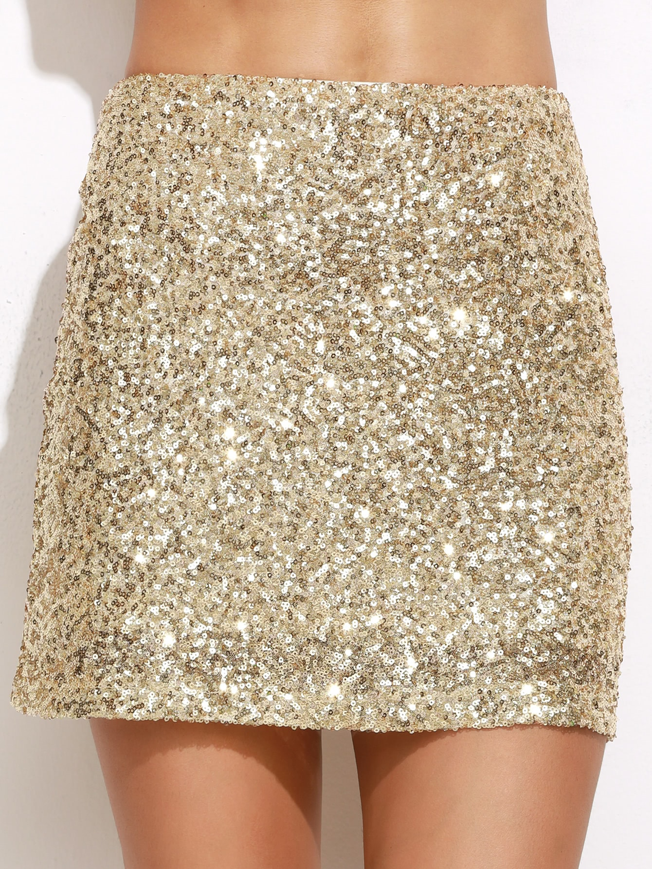 Embroidered Sequin Mini Skirt -SheIn(Sheinside)