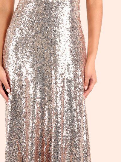 Backless Sequin Cami Maxi Dress ROSE GOLD -SheIn(Sheinside)