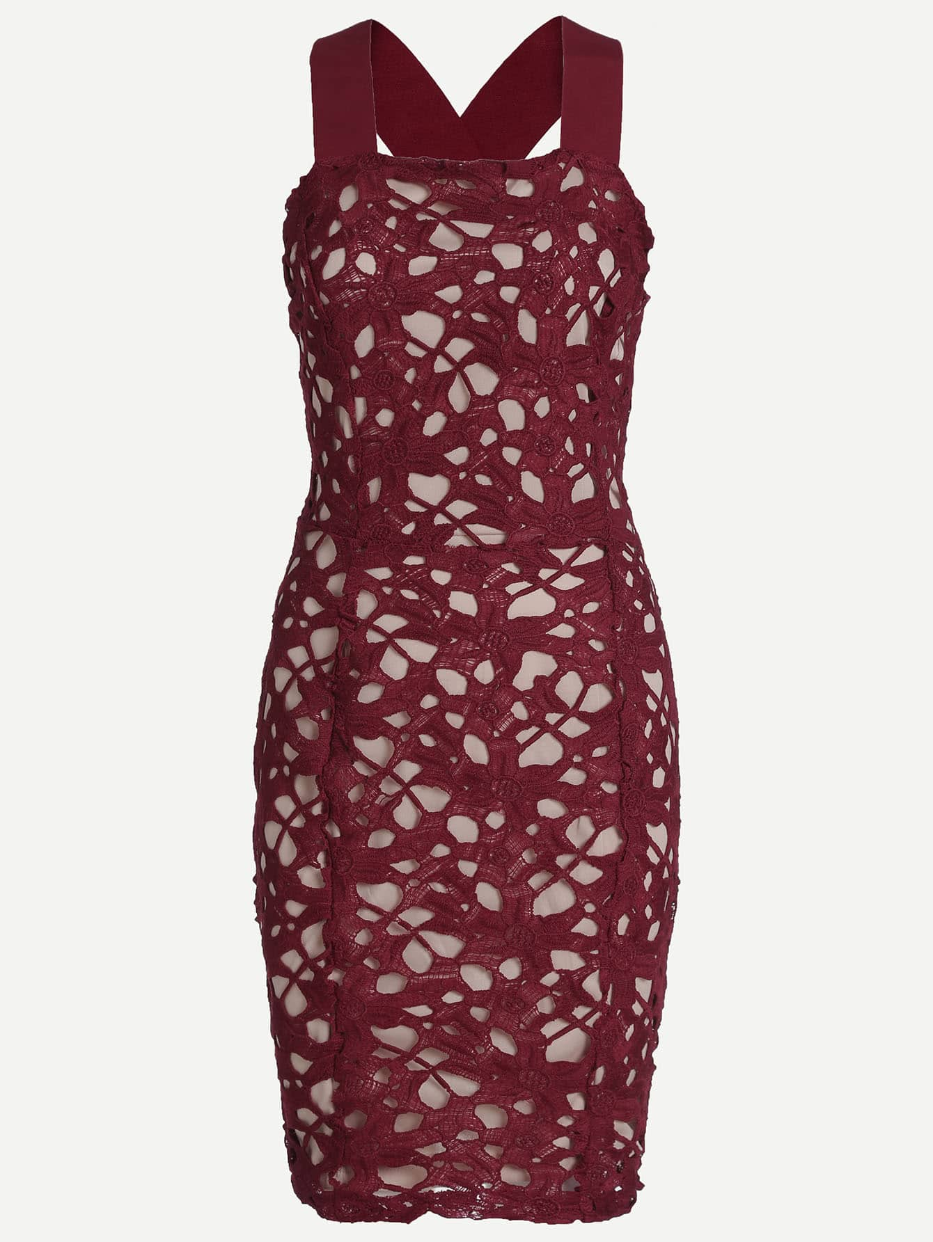 Burgundy Backless Hollow Out Lace Bodycon DressBurgundy Backless Hollow Out Lace Bodycon Dress<br><br>color: Burgundy<br>size: L,M,S