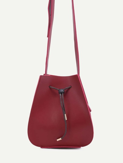 Red Faux Leather Drawstring Bucket Bag