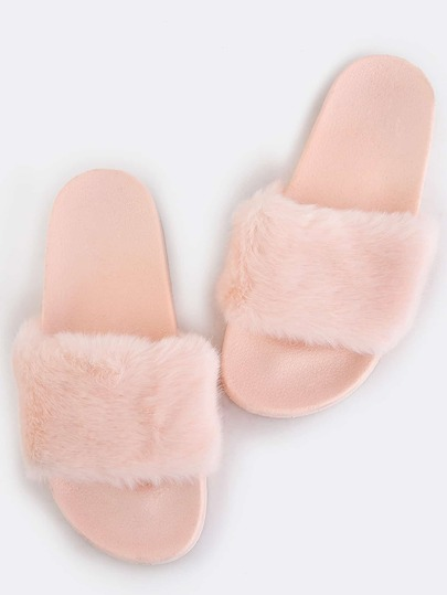 Open Toe Fluffy Fur Sandals PINK