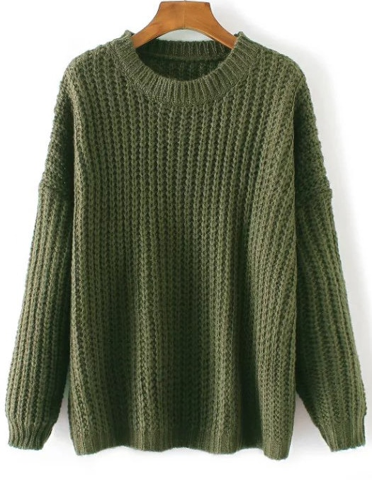 Army Green Round Neck Drop Shoulder Sweater sweater161017229