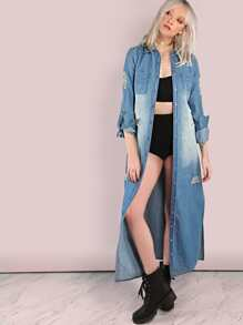Distressed Faded Button Down Lightweight Denim Coat DENIM
