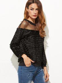 Black Mesh Insert Fluffy Sweatshirt