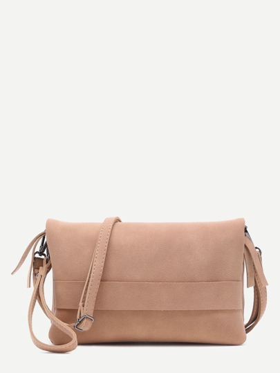 Khaki Nubuck Leather Flodover Clutch Bag With Strap