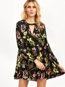 Black Flower Print V Cut Shift Dress
