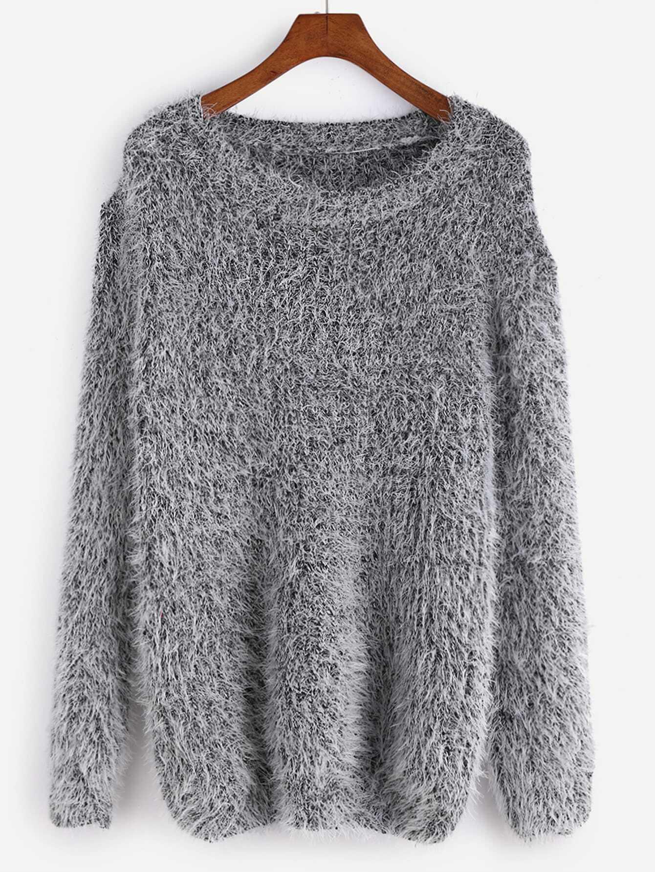 grey drop shoulder fuzzy sweater shein sheinside. Black Bedroom Furniture Sets. Home Design Ideas