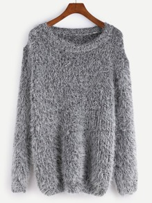 Grey Drop Shoulder Fuzzy Sweater