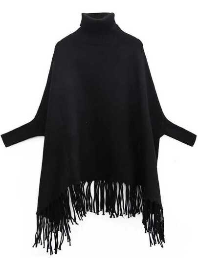 Black Turtleneck Batwing Sleeve Fringe Cape Sweater