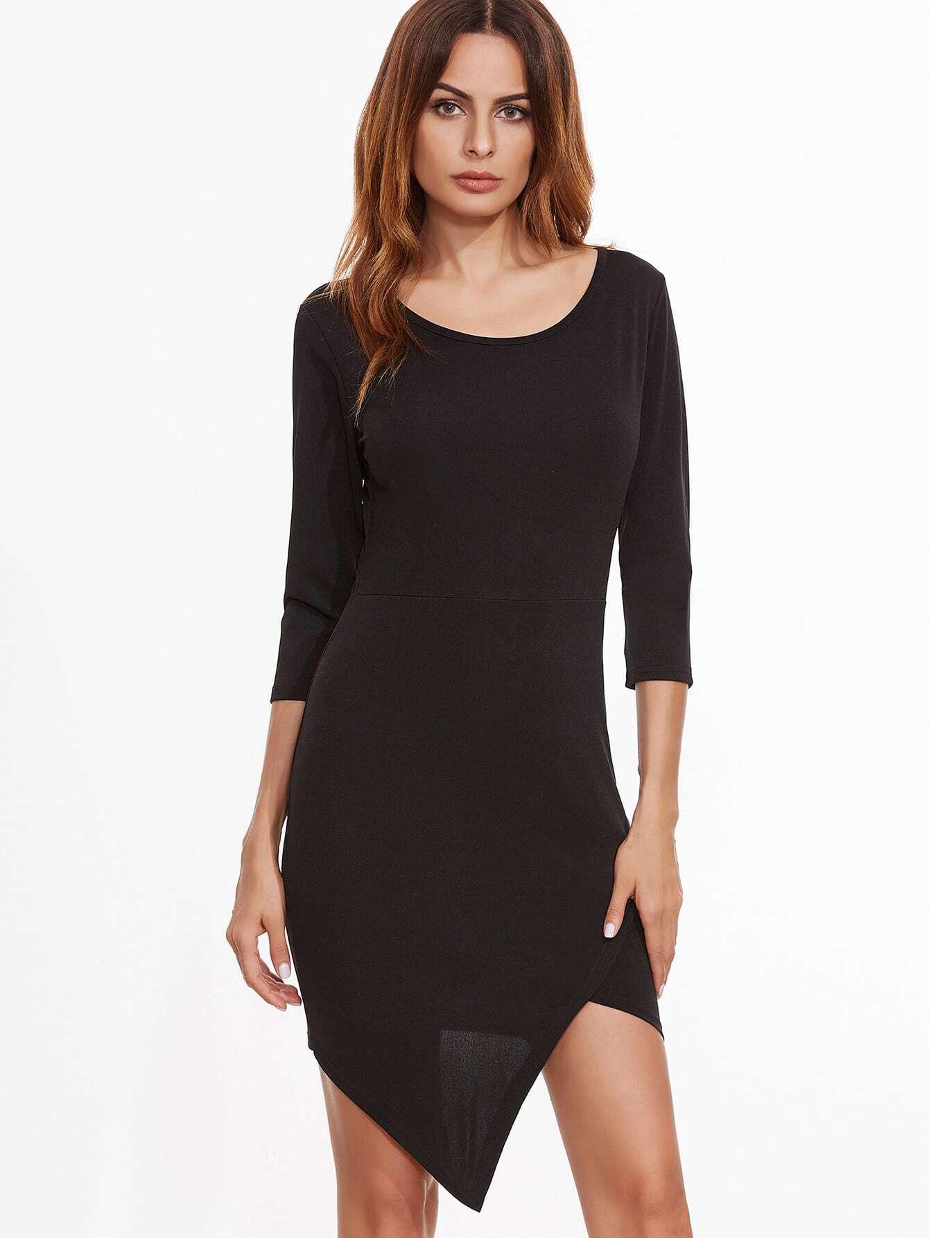 Black Asymmetric Hem Zipper Back Sheath Dress dress161026102