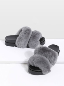 Grey Rabbit Hair Peep Toe Flatform Slippers