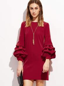 Red Drop Shoulder Billow Sleeve Dress