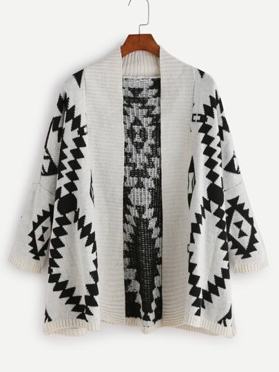 Geometric Print Drop Shoulder Cardigan
