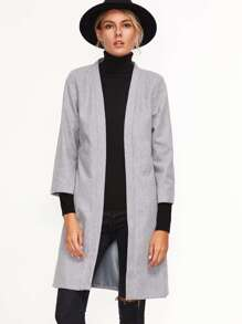 Grey Three Quarter Length Sleeve Open Front Coat