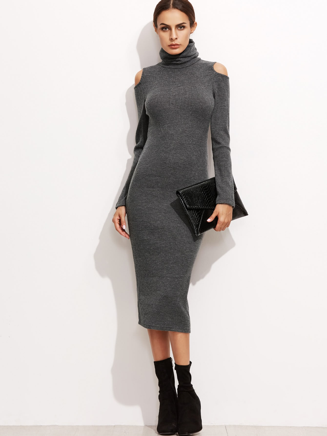Фото High Neck Open Shoulder Ribbed Pencil Dress. Купить с доставкой