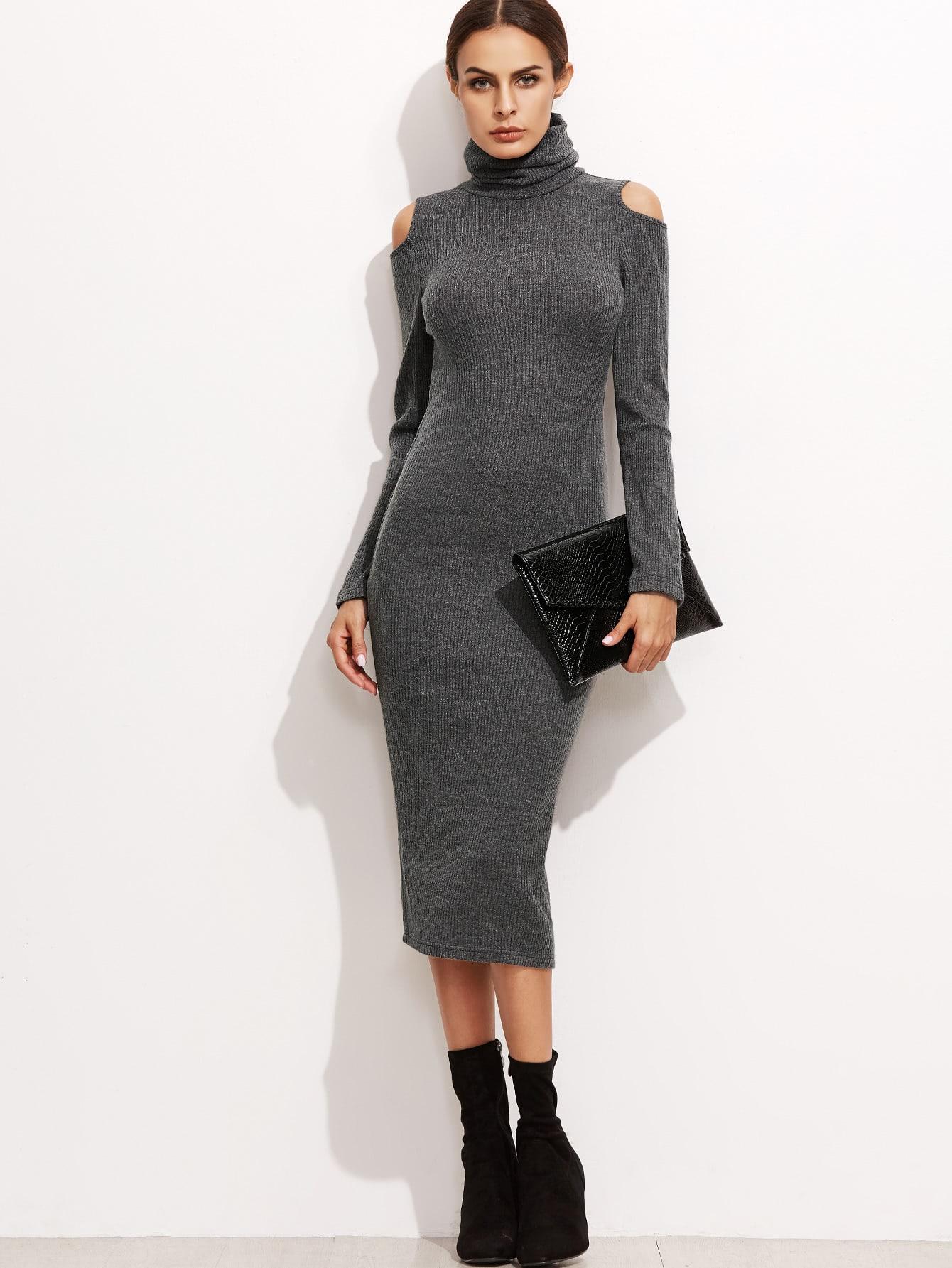 Grey High Neck Open Shoulder Ribbed Pencil Dress dress161024715