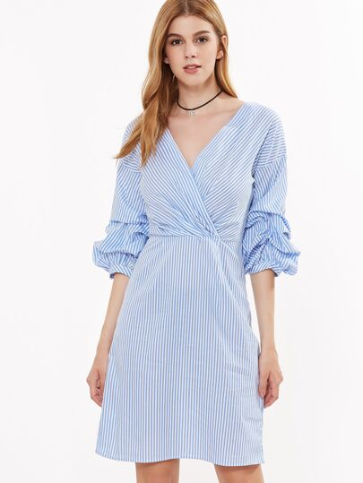 Surplice Bishop Sleeve Striped Dress