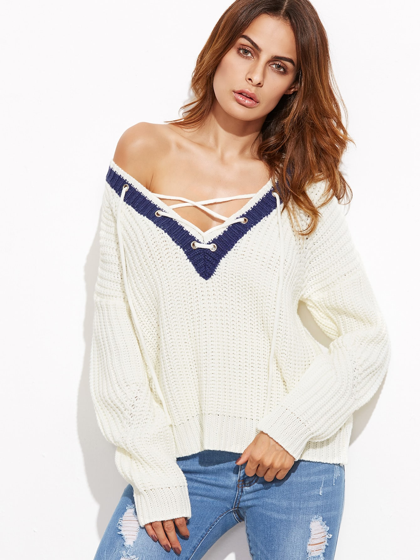 White Ribbed Knit Contrast Lace Up V Neck Sweater sweater161007460