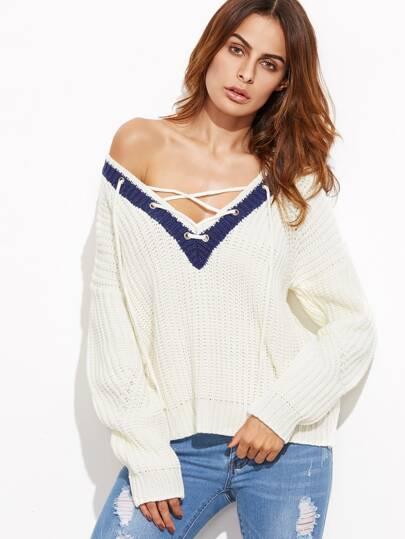 Pull tricoté à nervures col V avez lacet contrasté - blanc