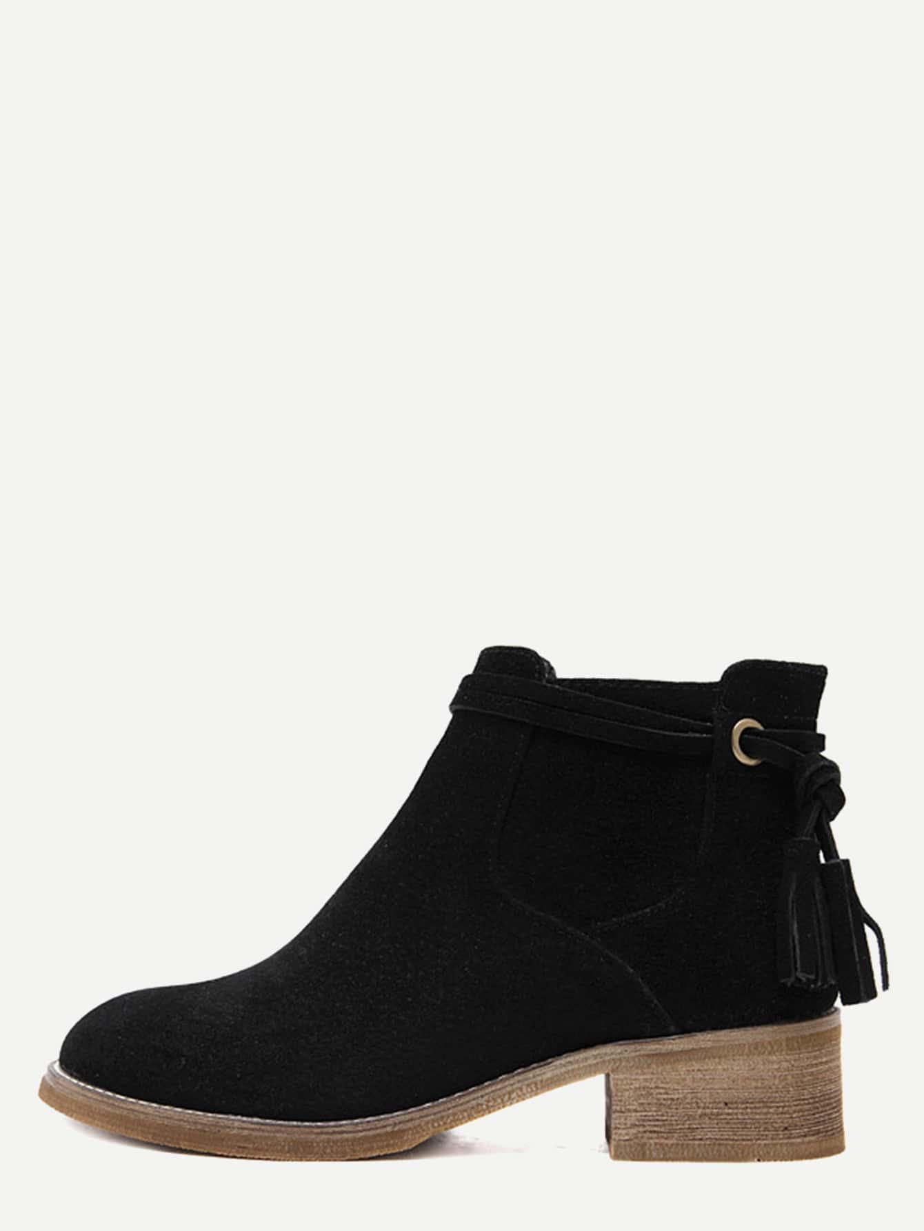 Black Faux Suede Distressed Tassel Cork Heel Ankle BootsBlack Faux Suede Distressed Tassel Cork Heel Ankle Boots<br><br>color: Black<br>size: EUR35,EUR40