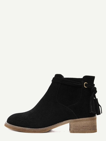 Black Faux Suede Distressed Tassel Cork Heel Ankle Boots