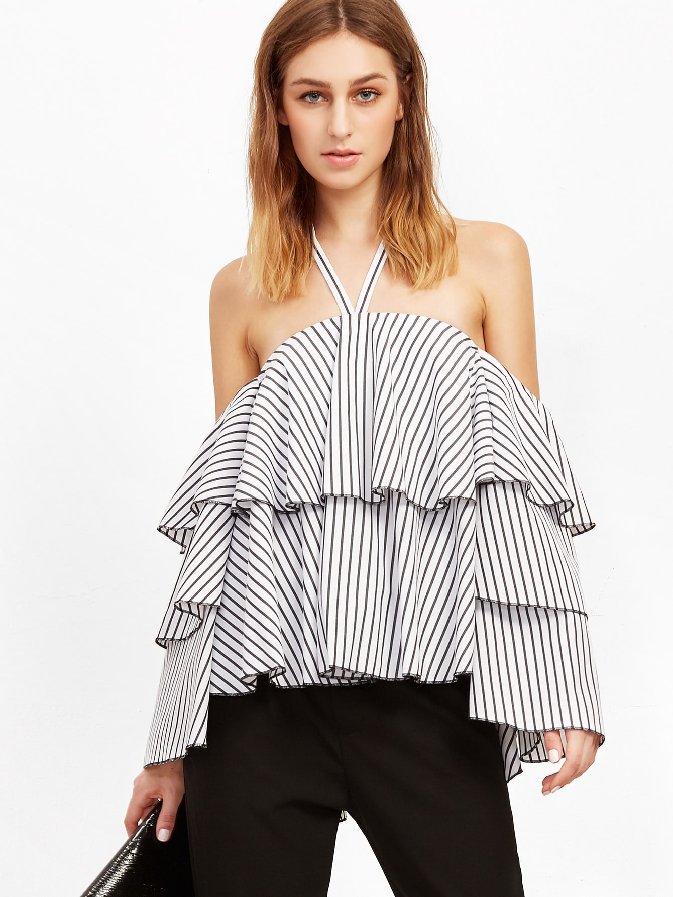 Tiered Frill Striped Top blouse161012708